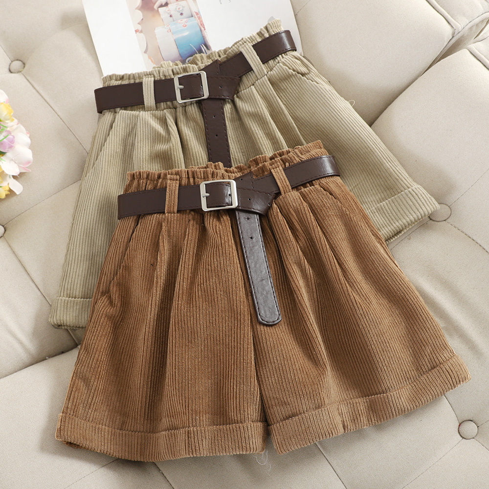 Corduroy Rolled Wide-leg Short For Women Korean Retro Elastic Waist Loose Casual Short Pants With Belt Loose A Line Shorts Femme