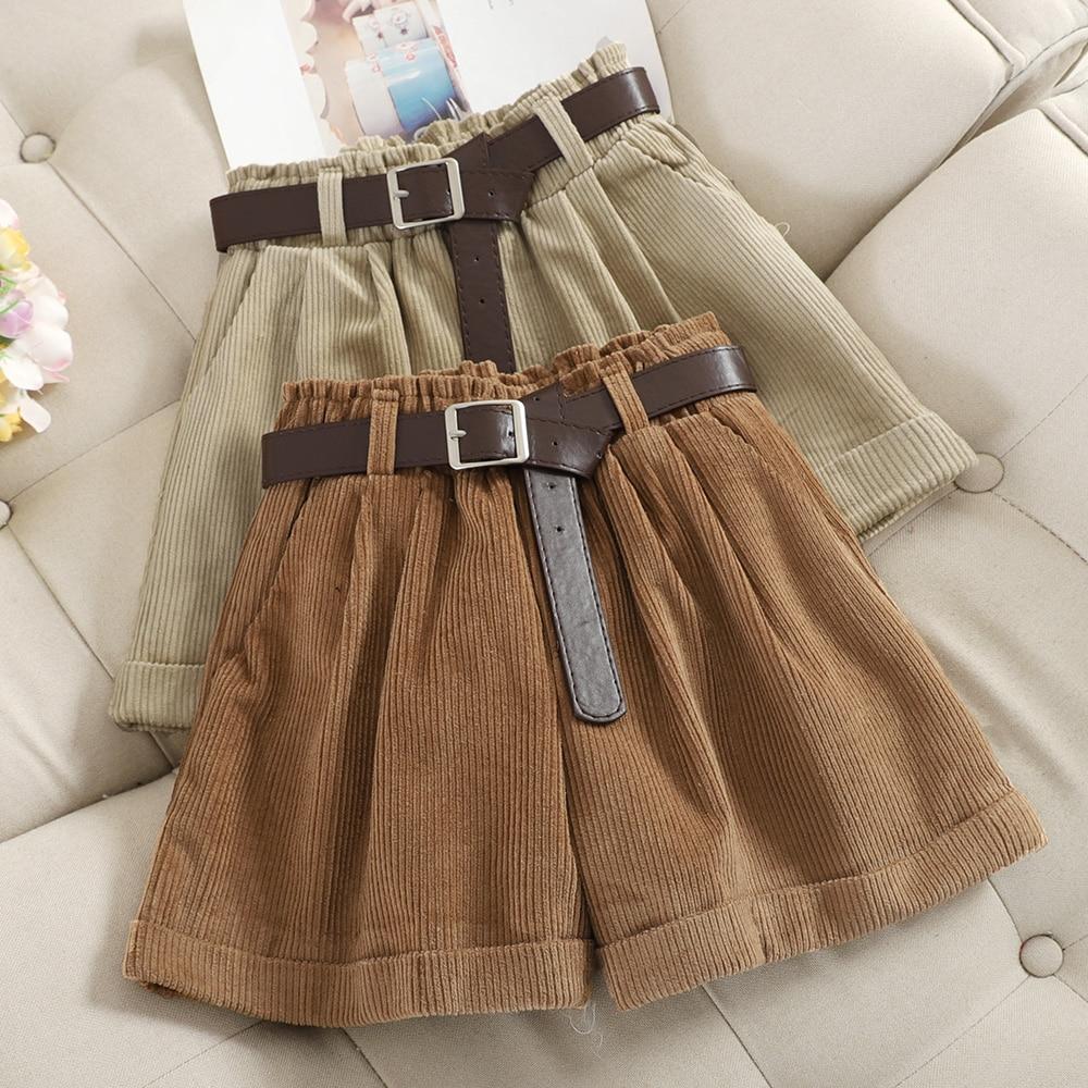Corduroy Rolled Wide-leg Short For Women Korean Retro Elastic Waist Loose Casual Short Pants With Belt Loose A Line Shorts Femme