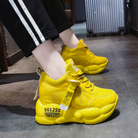 Yellow Sneakers Women Fashion Platform Sneakers High Heel Shoes Woman Chunky Sneakers Height Increasing Shoes Chaussures Femme