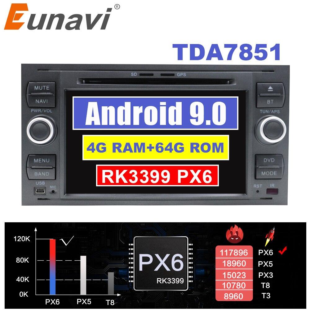 Eunavi 2din 4G 64 Android 9 Auto Radio DVD Multimedia Für Ford Mondeo S-max Fokus C-MAX Galaxy fiesta transit Fusion Verbinden kuga