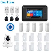 GauTone APP télécommande WIFI + GSM système dalarme de sécurité à domicile sans fil avec réseau HD 1080P/caméra IP et sirène sans fil