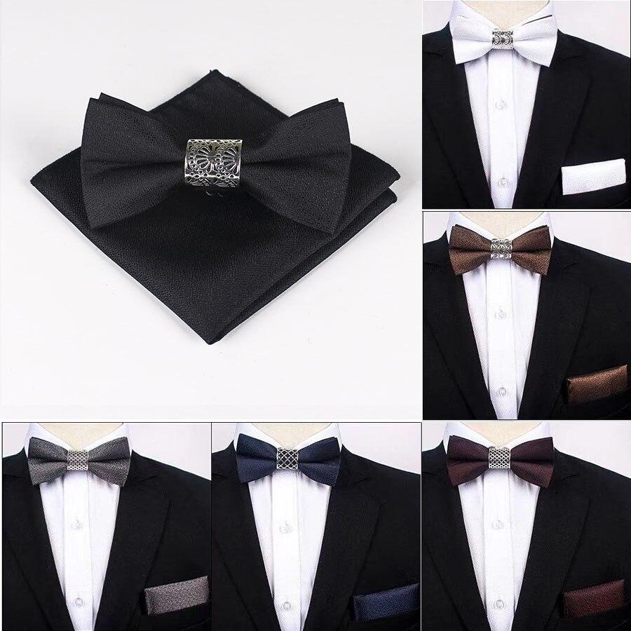 Original Metal Silver Floral Core Two Layer Neck Bowtie Solid Bow Tie Men's Fashion Adjustable Bowties For Men Pocket Sqaure Set