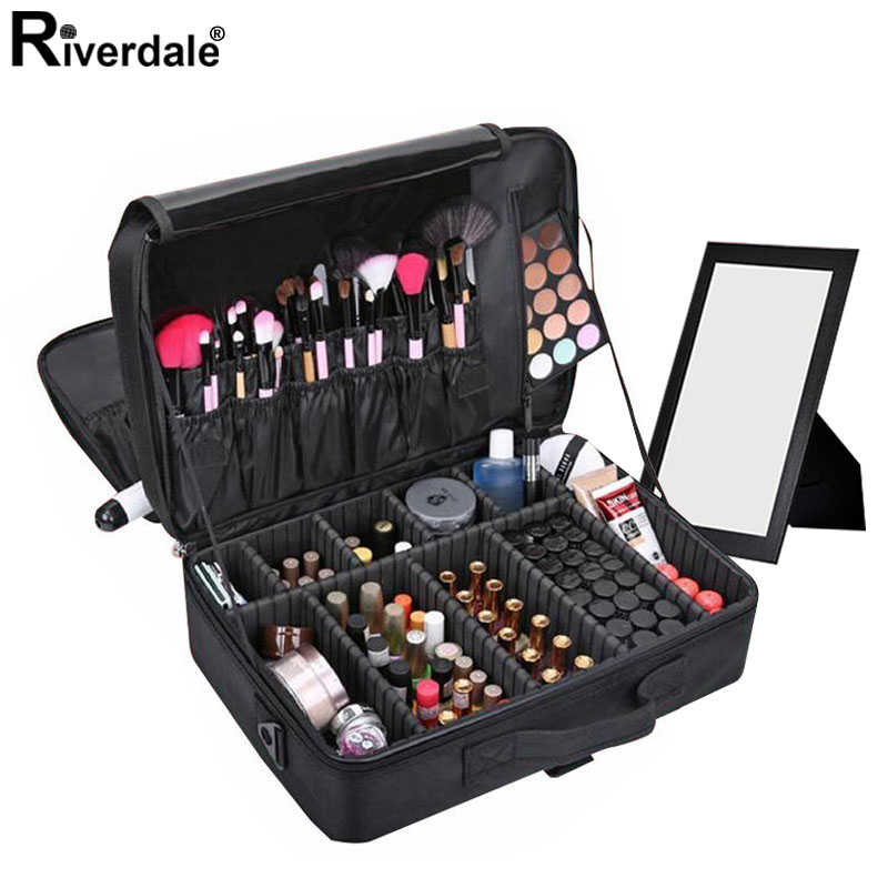 Frauen Professionelle Nylon Make-Up Fall Tragbare Reise Kosmetikerin Fall Cosmetic Organizer Fall Box Mit Spiegel Schönheit Koffer