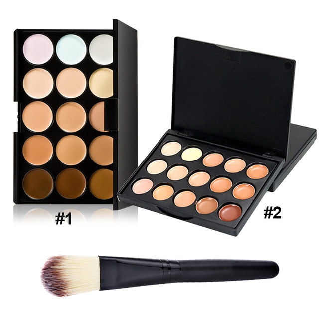 Newly 15 Color Fashion Women Professional Makeup Cosmetic Contour Concealer Palette Make Up+Foundation Brush CLA88