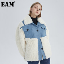[EAM] Loose Fit Lambswool Denim Big Size Short Jacket New Lapel Long Sleeve Women Coat Fashion Tide Autumn Winter 2019 19A-a760(China)