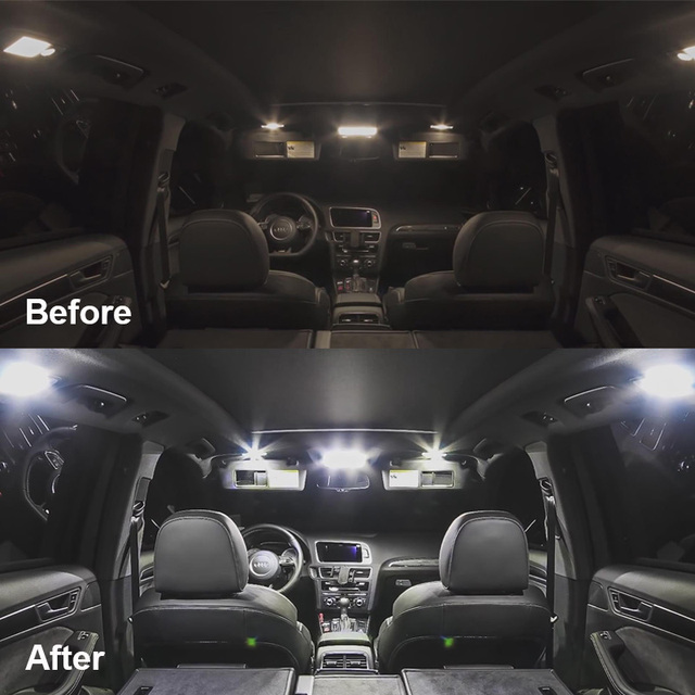 9 x White Ice Blue Error Free Car LED License Plate Bulb Package Kit For 2015-2017 Chrysler 200 Interior Reading Dome Cargo Lamp 6