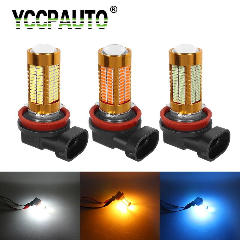 YCCPAUTO 2Pcs H8 H11 LED Weiß Gelb Lampen HB4 9006 HB3 9005 Nebel Lichter 4014 106 SMD Auto Fahren nebel Lampe DRL Bernstein 12 V-24 V