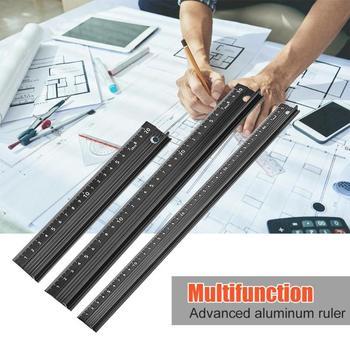 Wielofunkcyjny aluminiowy ręczny linijka ochronna antypoślizgowa linijka prosta cięcie drewna linijka prosta linijka do obróbki drewna tanie i dobre opinie alloet CN (pochodzenie) Woodworking