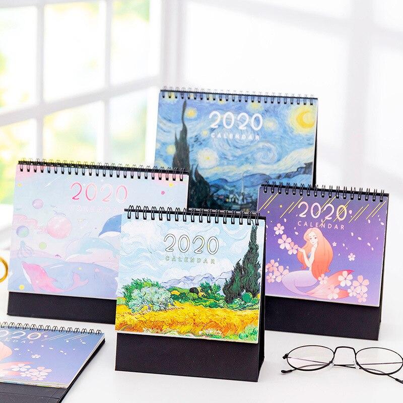 Calendar 2020 Creative Decoration Desk Calendar Calendar School Office Calendar Cartoon Van Gogh Starry Sunflower Calendar
