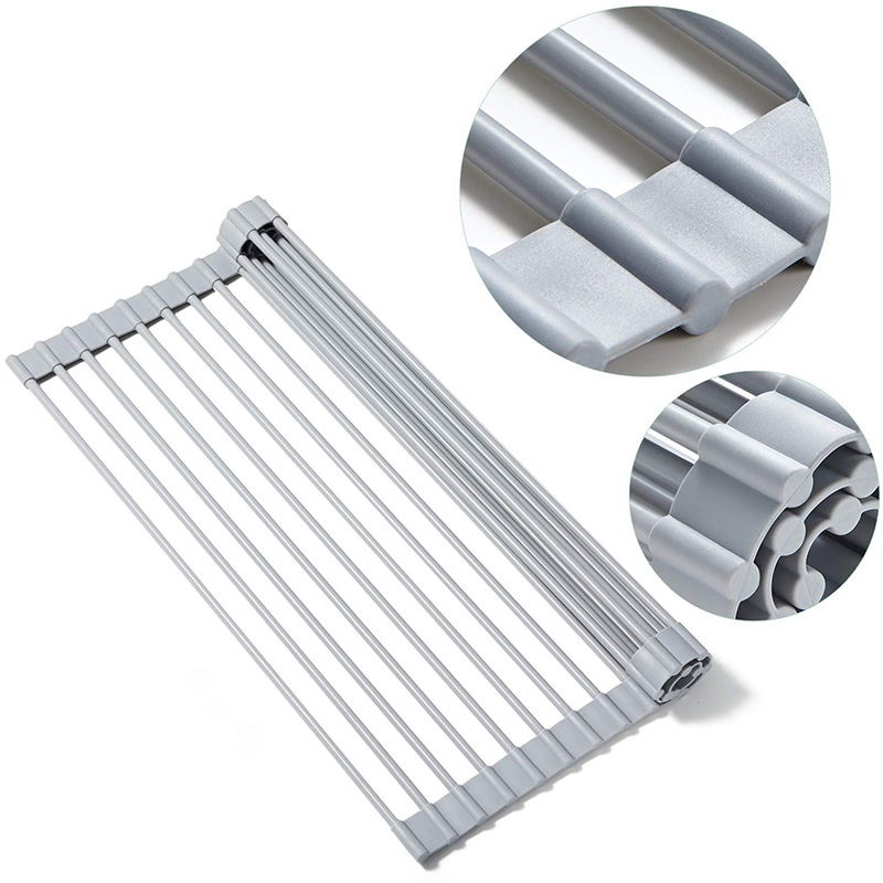 Collapsible Silicone Drain Rack Rollable Sink Water Control Rack Easy To Store  Kitchen Rack Dish Drying Shelf Dropship
