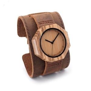 Image 2 - BOBO BIRD Wood Watch relogio masculino Men Fashion Quartz Clock Wood Watches Leather Strap Quartz Wristwatches in Sales Deal