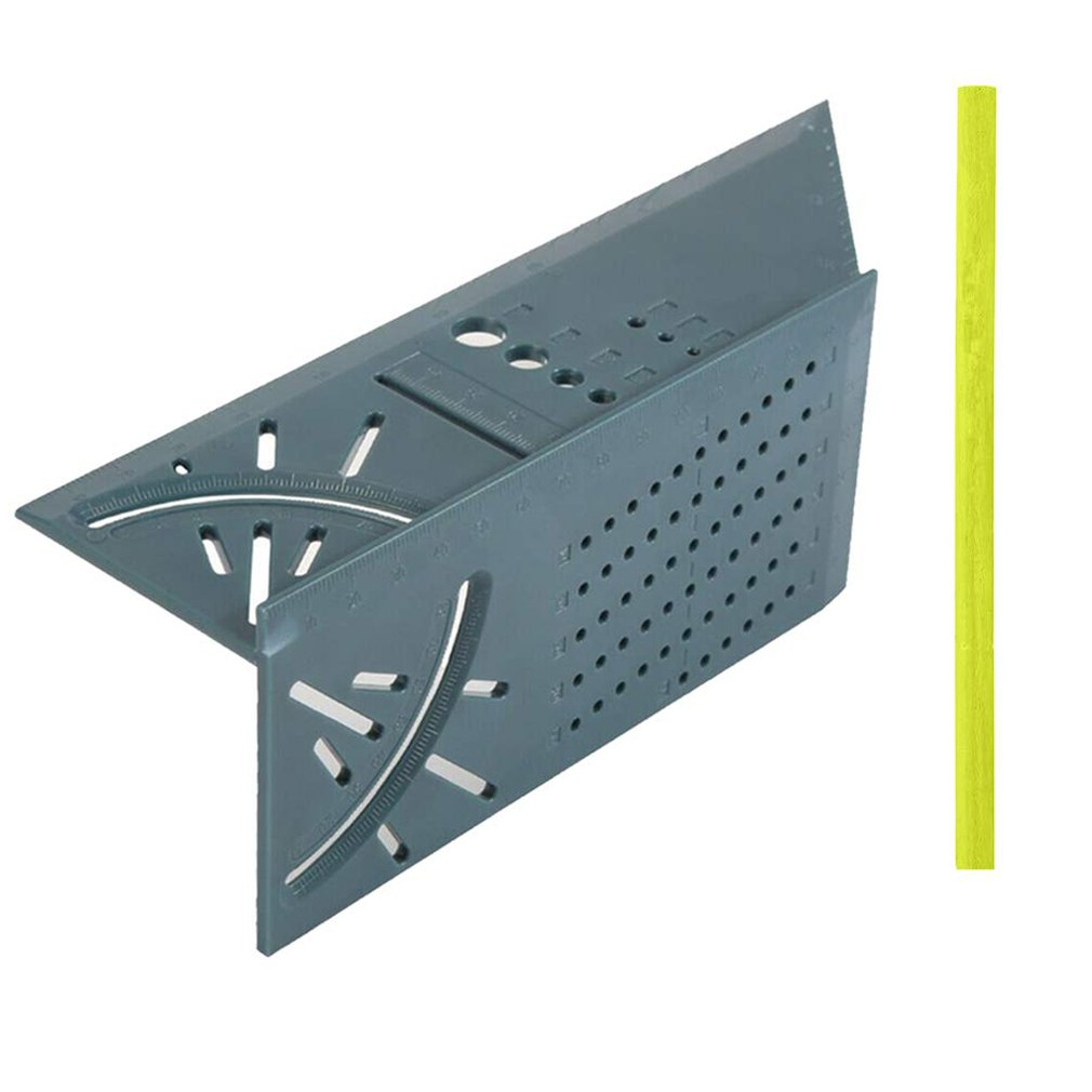 Multi-Function Ruler Square 45 Degree 90 Degree Ruler 3D Woodworking Stop Type Gauge Stop Point Ruler Ruler Green Ruler + Pen