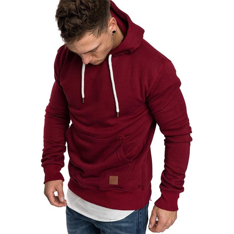 Autumn Winter Cotton Hoodied Mens Sweatshirts Solid Hoody Fleece Thick