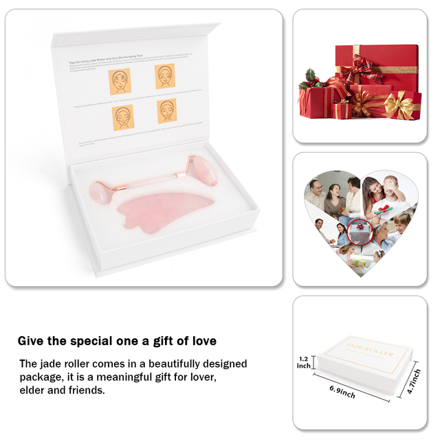 Portable Rose Quartz Facial Massage Crystal Stone Face Lift Jade Massager Roller Set Skin Care Wrinkle Removal Tool for Women 5