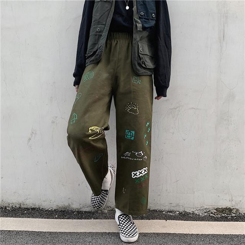 NiceMix Harajuku Streetwear Print Joggers Women Pants Wide Leg Vintage Trousers Spring Pantalon Femme All Ins Ropa Mujer New