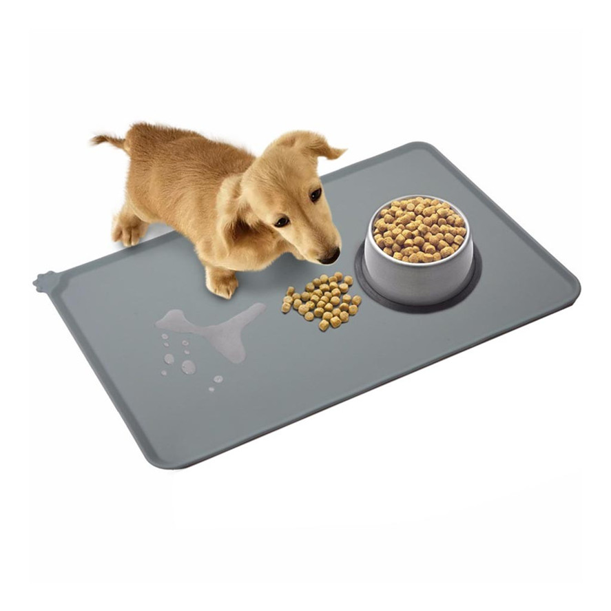 Natural Silicone Dog Cat Food Feeding Mat Feeding Placemat for Pets Dogs Bowls Mat Large 47X30cm Non Slip - Gray 1125#30 image