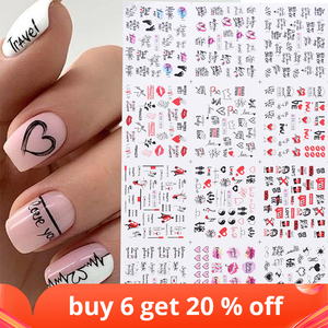 12pcs Valentines Manicure Love Letter Flower Sliders for Nails Inscriptions Nail Art Decoration Water Sticker Tips GLBN1489-1500