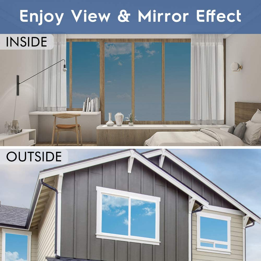 Mirror Reflective Window Film One Way Vision Solar Window Tint Vinyl Glass Self Adhesive Control Film Privacy Sticker for Home 6