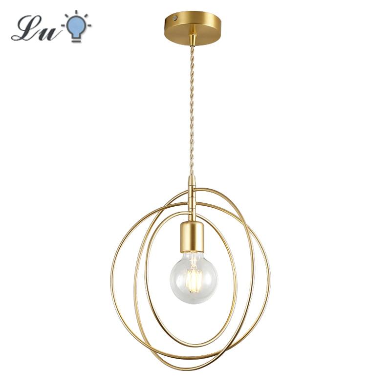 LED Iron Pendant Lights Golden E27 Hanging Lamp Bedroom Living Room Decoration Pendant Lamps Indoor Lighting Kitchen Fixtures