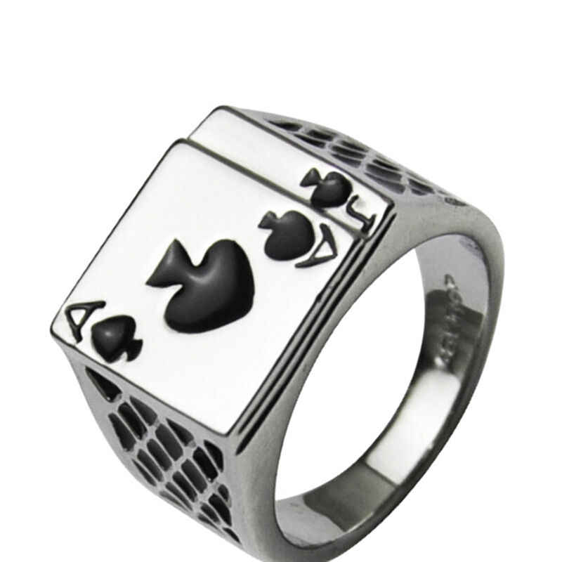 Mannen Sieraden Cool Zwart Emaille Spades Poker Ring Gentleman Poker Vinger Ring