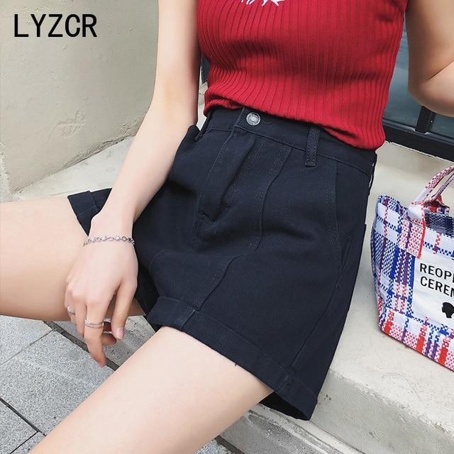 LYZCR Wide Leg Denim Shorts For Women Summer 2021 High Waist Jeans Shorts Women Casual Loose Women's Shorts Jean White Kahki 5