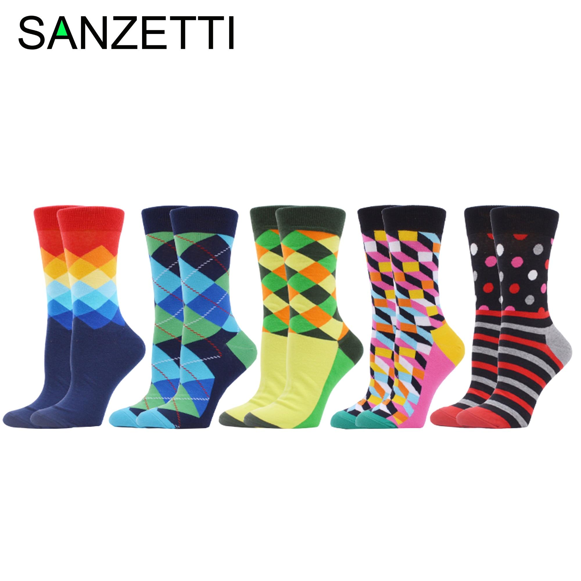 SANZETTI 5 Pairs 2020 Leisure Art Pretty Women's Combed Cotton Socks Happy Colorful Harajuku Geometric Figure Dot Stripes Socks