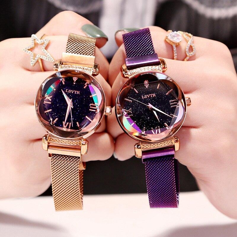 VOHE Luxury Crystal Star Sky Women Magnetic Watches Purple Lady Steel Strap Magnetic Buckle Bracelet Watch Roman Numeral