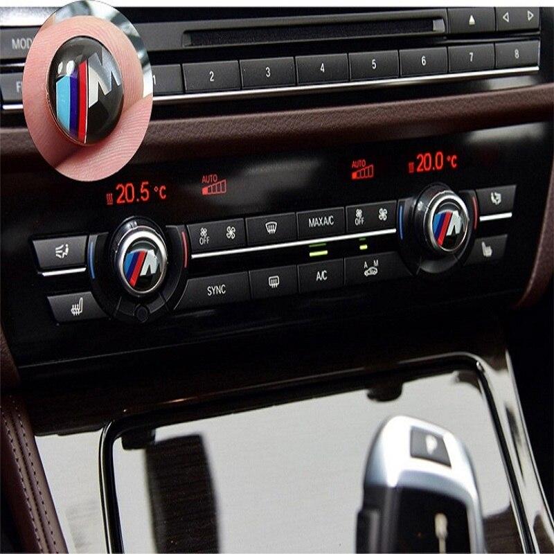 2pcs Car Air Conditioning Knob Sticker Car Button Logo Sticker For BMW X3 X4 X5 X6 SUV 1 2 3 4 5 6 7 Series Stickers Accessories