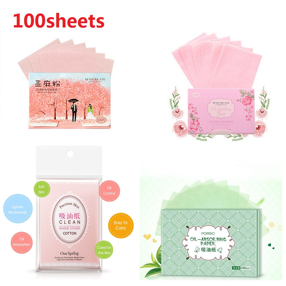 100Sheets/pack Facial Oil Blotting Sheets Face Oil Control Absorbing Film Blotting Paper Cleaning Beauty Makeup Tools TSLM2