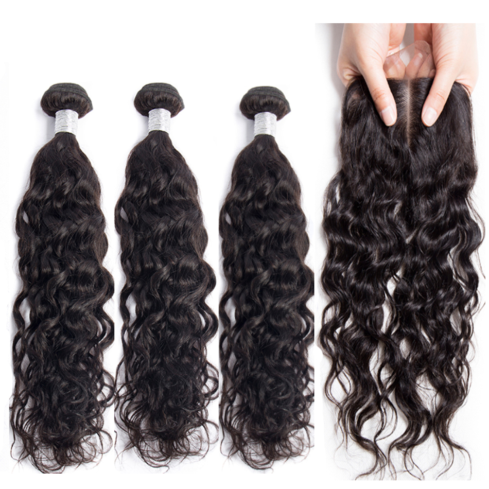 Shireen Water Wave Bundles With Closure Brazilian Hair Weave Bundles With Closure Remy Human Hair 3 Bundles With 4*4 Baby Hair