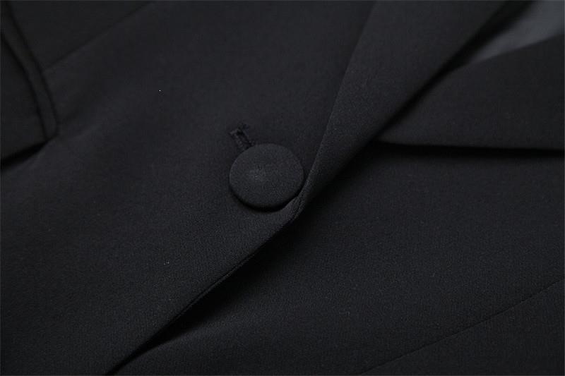 Elegante Büro Zwei Stück Outfits Drehen unten Kragen Herbst Winter Sicken Quaste Kerb Blazer Anzug Shorts Set Ol Twinset - 4