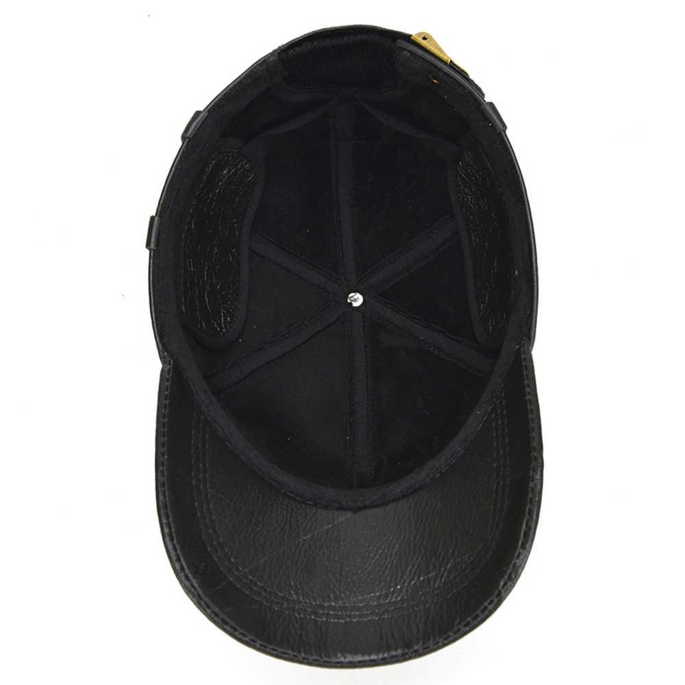 2019 جديد الرجال جلد البقر الحقيقي جلدية Earlap القبعات 100% ريال حقيقية البقر قبعة بيسبول جلدية s جودة قبعة بيسبول جلدية الحقيقي