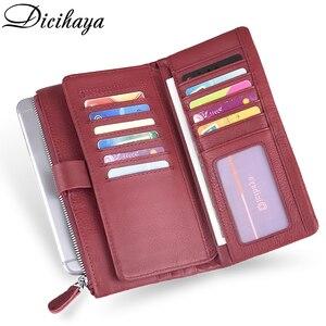 Image 5 - Dicihaya ホット販売の女性のクラッチ革財布女性長財布よりカード女性ジッパー財布マネーバッグ財布電話バッグ