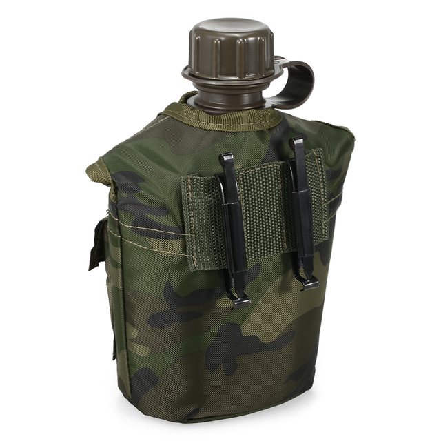 1L Outdoor Military Canteen Bottle Camping Hiking Backpacking Survival Water Bottle Kettle with Cover 2