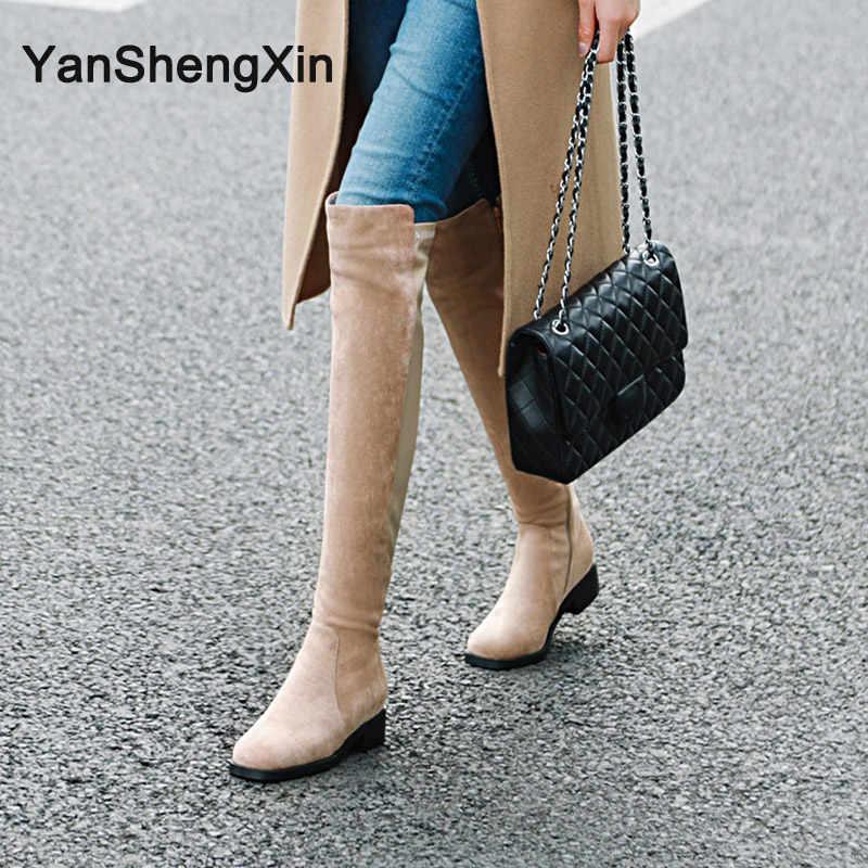 YANSHENGXIN Ayakkabı Kadın Botları Hakiki Kürk Düşük Topuk Kadın Çizmeler Sonbahar Kış Çizmeler Yuvarlak Ayak Ayakkabı İç Zip Bayanlar Patik