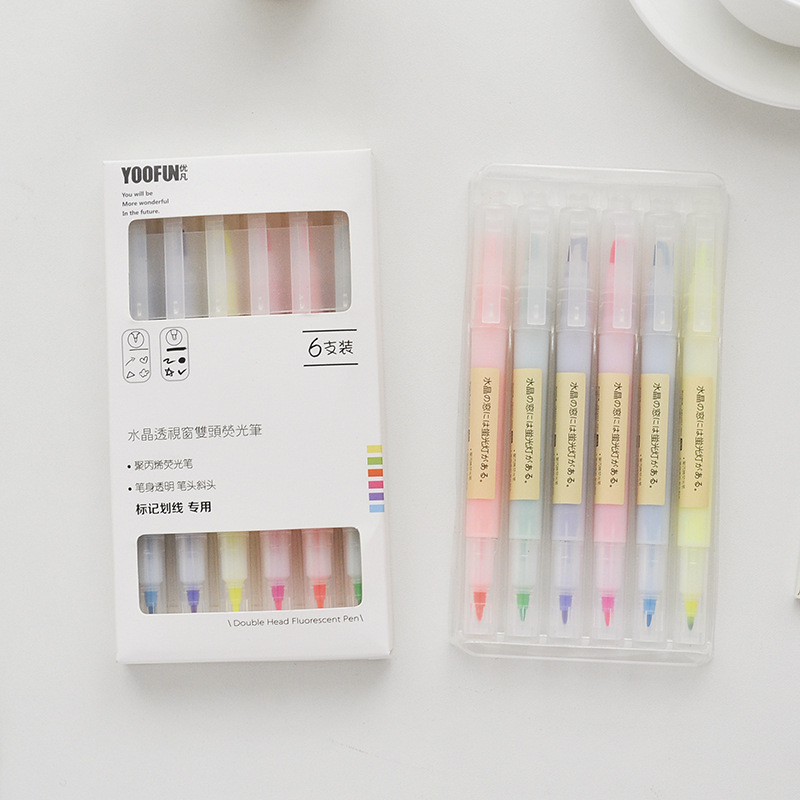 6 Pcs/set Crystal Double Head Highlighters Candy Color 6 Colors Drawing Marker Pens Promotional Gift Stationery