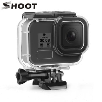 SHOOT for GoPro Hero 8 Black Waterproof Case 60M Underwater Diving Housing Protective Shell Cover Mount for Go Pro 8 Accessories diving waterproof case underwater housing case mount camera accessories for gopro hero 6 5 black action