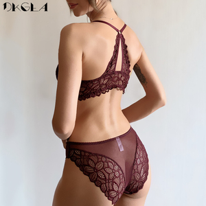 Image 2 - Front Closure Bras Lace Underwear Set Sexy Deep V Brassiere Thick Push Up Bra Panties Sets Embroidery Purple Women Lingerie Set