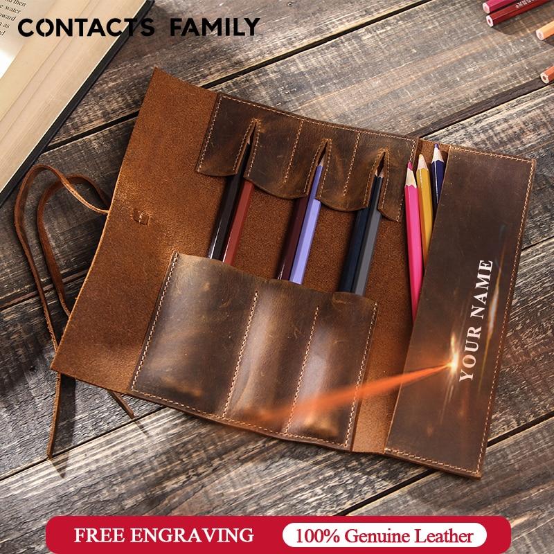 1pcs Retro PU Leather Pencil Case Pen Cover Sleeve Pen Storage School Supplies