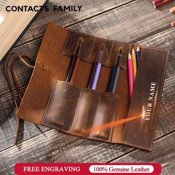Genuine Leather Retro Luxury Pencil Cases Roll Pen Bag Storage Pouch For Stationery School Supplies Makeup Cosmetic Holder - discount item  51% OFF School Supplies