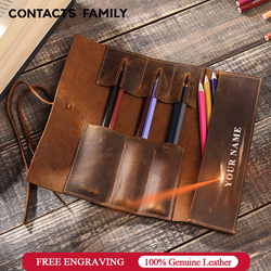 Kulit Asli Retro Mewah Pensil Roll Pena Tas Kantong Penyimpanan untuk Alat Tulis Sekolah Kosmetik Makeup Tas