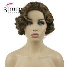 StrongBeauty Breve Dito Onda Marrone Dorato Parrucca Sintetica Pieno Cosplay Retro Parrucche