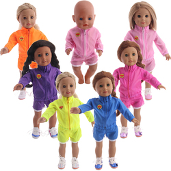 Спортивная одежда, куртка + шорты для американской девочки 18 дюймов 43 см, детские куклы для новорожденных, одежда, аксессуары нашего поколен...