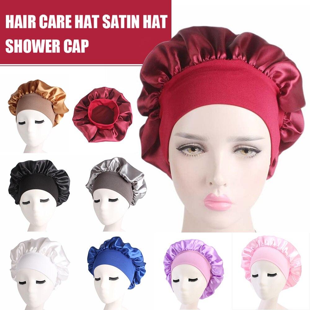 1 шт., длинный Уход за волосами, женская шапка для ночного сна, одноцветная Атласная шапочка для укладки волос, шелковая шапочка для душа, инс...