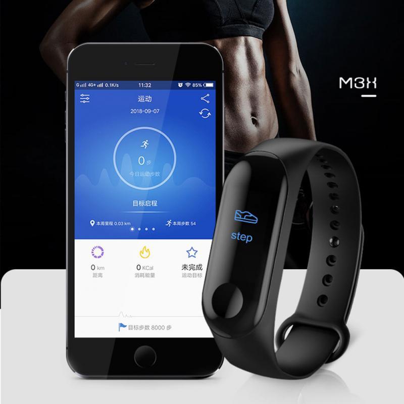 Hot Watch Smart Bracelet Heart Rate Monitor Health Smart Watch Black Wristband Tracker Pedometer Heart Rate Sensor Equip Gym