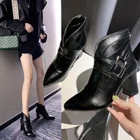 Boot girl 2019 pointy chunky heel ankle boots European style fashion cool back zipper Martin boots