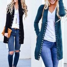 Sweter damski New Fashion eleganckie damskie jesień z długim rękawem Slim, dziany sweter znosić Plus rozmiar otwórz Stitch odzież z guzikami