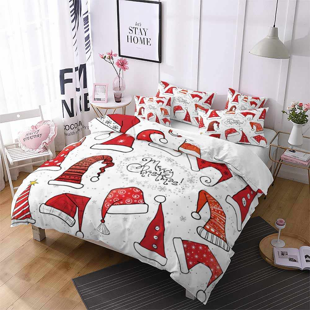 Christmas Hat Red White Quilt Bedding Sets Single Queen Duvet