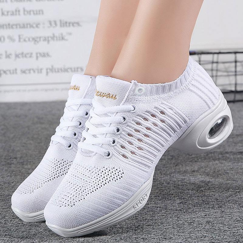 Women's Dance Sneakers Jazz Shoes  White Black Mesh Hip Hop Modern Dancing Shoe Ladies Girl's Outdoor Sports Casual Shoes Female