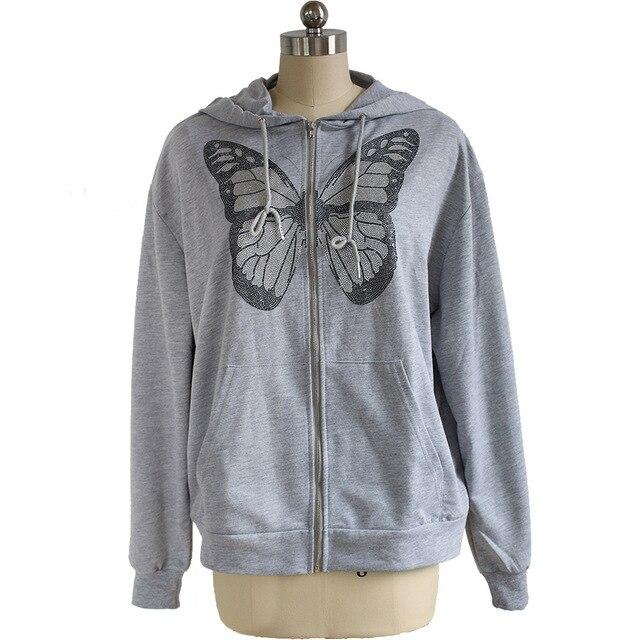 Kawaii Butterfly Zip Up Long Sleeve Summer Sweatshirts 2021 Spring Oversized Hoodies Women Cotton Black Streetwear GrayTops 5